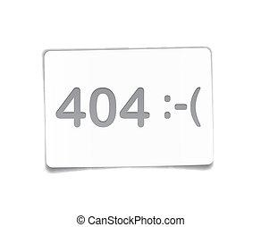 carta, 404, bianco, sheet., errore
