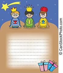 carta, a, el, tres, reyes