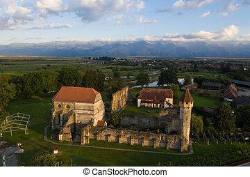 carta, abbaye, vieux, cistercian, transylvania, romania., ruiné