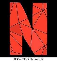 carta, alfabeto, aislado,  N,  vector, negro, Plano de fondo, rojo