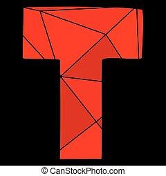 carta, alfabeto, aislado,  vector, negro,  T, Plano de fondo, rojo
