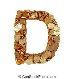 carta alfabeto, d, con, dorado, coins, aislado, blanco, plano de fondo