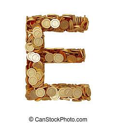 carta alfabeto, e, con, dorado, coins, aislado, blanco, plano de fondo