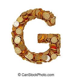 carta alfabeto, g, con, dorado, coins, aislado, blanco, plano de fondo