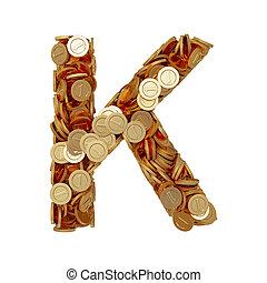 carta alfabeto, k, con, dorado, coins, aislado, blanco, plano de fondo