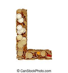 carta alfabeto, l, con, dorado, coins, aislado, blanco, plano de fondo