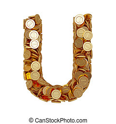 carta alfabeto, u, con, dorado, coins, aislado, blanco, plano de fondo