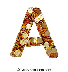 carta alfabeto, un, con, dorado, coins, aislado, blanco, plano de fondo
