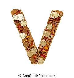 carta alfabeto, v, con, dorado, coins, aislado, blanco, plano de fondo