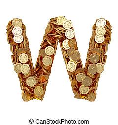 carta alfabeto, w, con, dorado, coins, aislado, blanco, plano de fondo
