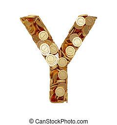 carta alfabeto, y, con, dorado, coins, aislado, blanco, plano de fondo
