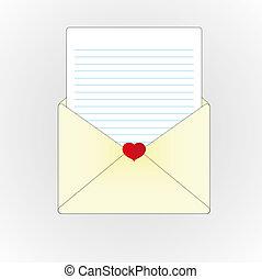 carta amor, e, papel, folha