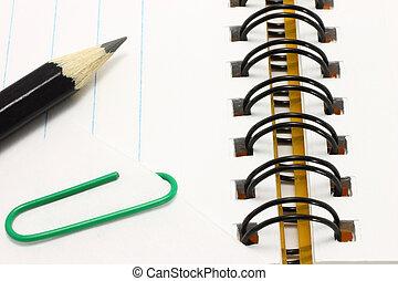 carta, aperto, matita, blocco note