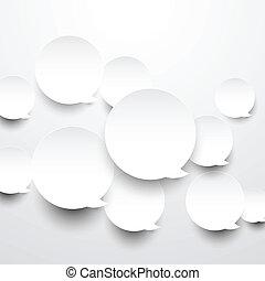 carta, bianco, rotondo, discorso, bubbles.