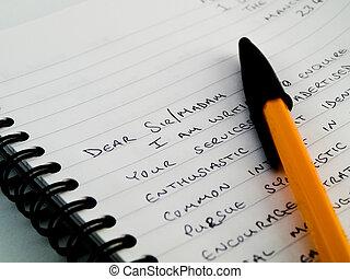 carta, blocco note, lettera, scritto mano