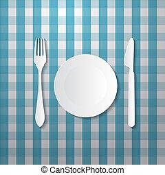carta, blu, coltello, piastra, forchetta, fatto, tovaglia