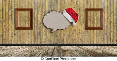 carta, bolla, cappello, riciclato, fondo, vuoto, discorso, legno, santa