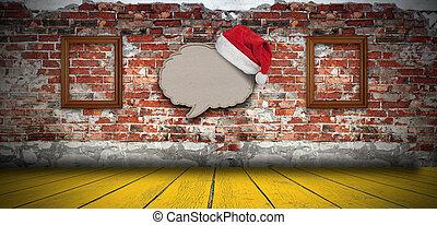 carta, bolla, cappello, riciclato, fondo, vuoto, discorso, santa, parete, mattone