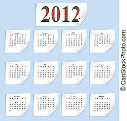 carta, calendario, vettore, bianco, 2012
