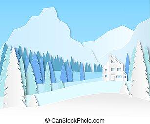 carta, casa, fields., taglio, vettore, pubblicità, montagne., paesaggio, design., viaggiare, 3d, recreation., abete rosso, foresta