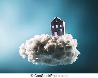 carta, casa, standing, su, il, cotone, nuvola
