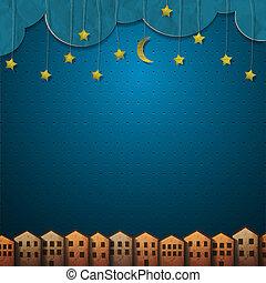 carta, case, stelle, luna