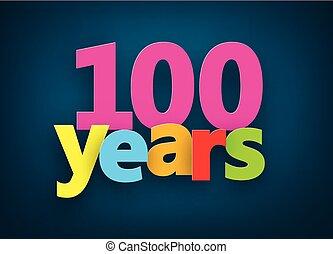 carta, cento, anni, segno.
