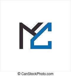 carta, cm, diseño, mc, vector, inicial, plantilla, logotipo...