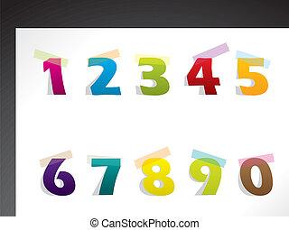 carta colore, nastro, numeri, fondo, sticked
