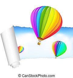 carta, con, aria, palloni, in, il, cielo
