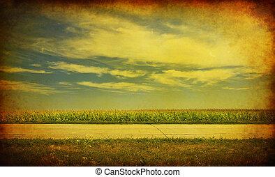 carta, con, paesaggio