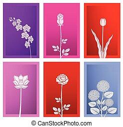 carta, cornice, arte, fiore