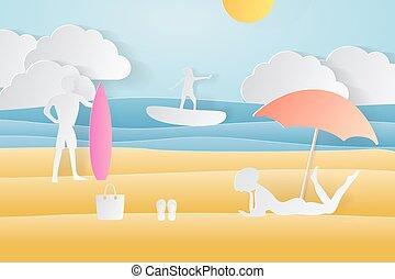 carta, crafted, disinserimento, world., concetto, di, ora legale, tavola da surf, e, mare, o, ocean., vettore, illustrazione