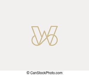 carta, creativo, vector, elegante, logotype., logotipo, prima, design., w, línea, lujo, lineal, monogram., curva