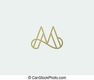 carta, creativo, vector, elegante, logotype., logotipo, prima, m, design., línea, lujo, lineal, monogram., curva