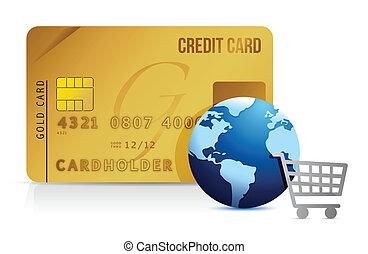 carta credito, carrello, e, globo, -, concetto