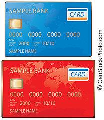 carta credito, in, blu rosso