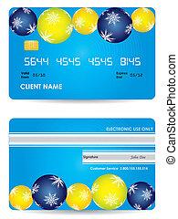carta credito, -, indietro, edizione, fronte, natale, vista