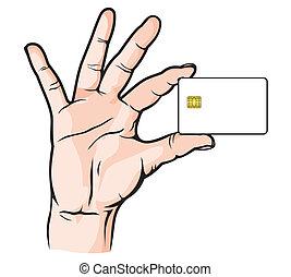 carta credito, mano