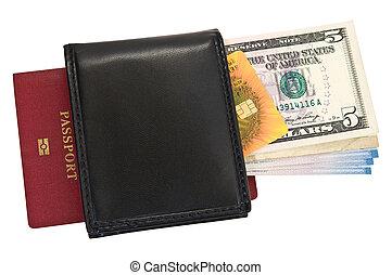 carta credito, soldi, passaporto, borsellino