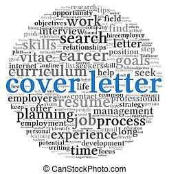 carta, cubierta, concepto