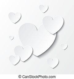 carta, cuori, giorno valentines, scheda, su, white.