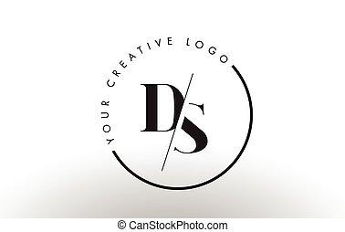 carta, cut., logotipo, diseño, ds, intersected, serif, creativo