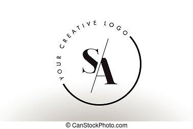 carta, cut., logotipo, diseño, sa, intersected, serif, creativo