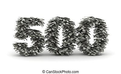 carta, dólares, número, 500