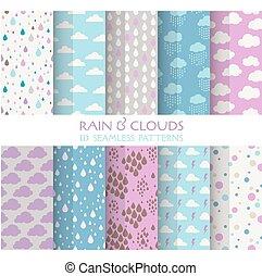 carta da parati, 10, nubi, -, seamless, pioggia, modelli, vettore, struttura, album, fondo, struttura