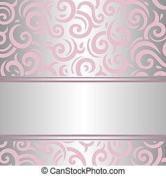 carta da parati, argento, vendemmia, &, rosa