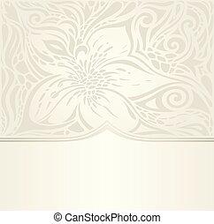 carta da parati, ecru, disegno, invito, floreale, nuziale, matrimonio