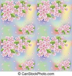 carta da parati, primavera, seamless, illustrazione, vettore, sakura