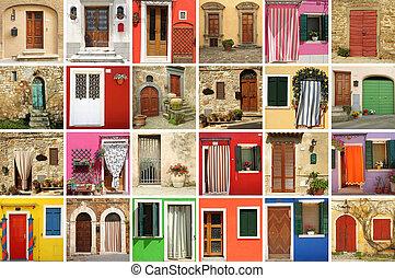 carta da parati, vecchio, italia, colorito, porte